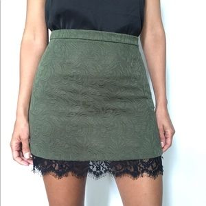 Topshop Skirts - Topshop Olive Textured Lace Trim Mini Skirt
